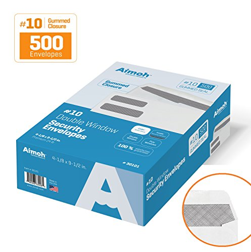 10-Double-Window-Security-Business-Mailing-Envelopes-for-Invoices-Statements-and-Legal-Documents-GUMMED-Closure-Security-Tinted-Size-4-18-x-9-12-White-24-LB-500-Count-30101-0