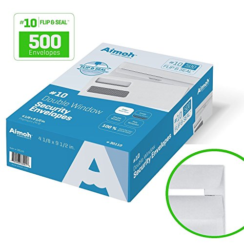 10-FLIP-SEAL-Double-Window-Security-Business-Mailing-Envelopes-for-Invoices-Statements-Legal-Documents-Self-Sealing-Adhesive-Seal-Security-Tinted-Size-4-18-x-9-12-24-LB-500-Count-30110-0