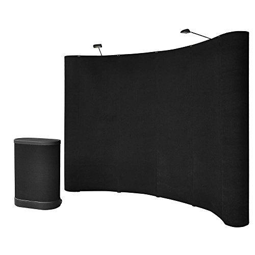 10x8ft-Black-Pop-Up-Trade-Show-Display-Booth-Podium-Promotion-Counter-Spotlight-Exhibition-Receptive-0