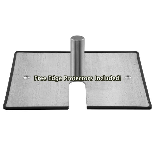 16-x-14-10-lb-Steel-Base-Plate-with-Pin-and-Edge-Protectors-For-Pipe-and-Drape-Displays-and-Backdrops-0-0