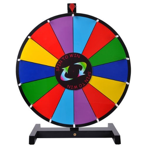 18-Round-Tabletop-Color-Dry-Erase-Spinning-Board-Prize-Wheel-14-Clicker-Slots-w-Wood-Stand-Portable-for-DIY-Custom-Sheet-Desk-Top-Carnival-Crowd-Drawing-Game-by-Generic-0