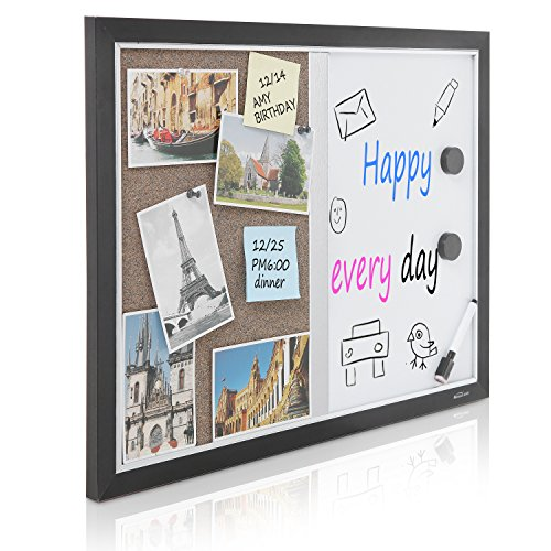 2-in-1-Black-Wood-Framed-Wall-Mounted-Combination-Bulletin-Cork-Board-Magnetic-Whiteboard-MyGift-0-0