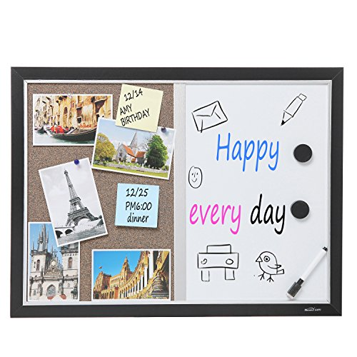 2-in-1-Black-Wood-Framed-Wall-Mounted-Combination-Bulletin-Cork-Board-Magnetic-Whiteboard-MyGift-0