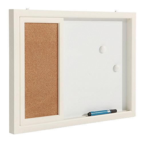 2-in-1-White-Wood-Framed-Wall-Mounted-Message-Center-w-Erasable-Magnetic-Whiteboard-Sliding-Cork-Board-0-0