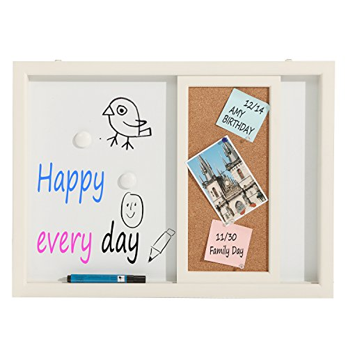 2-in-1-White-Wood-Framed-Wall-Mounted-Message-Center-w-Erasable-Magnetic-Whiteboard-Sliding-Cork-Board-0-1
