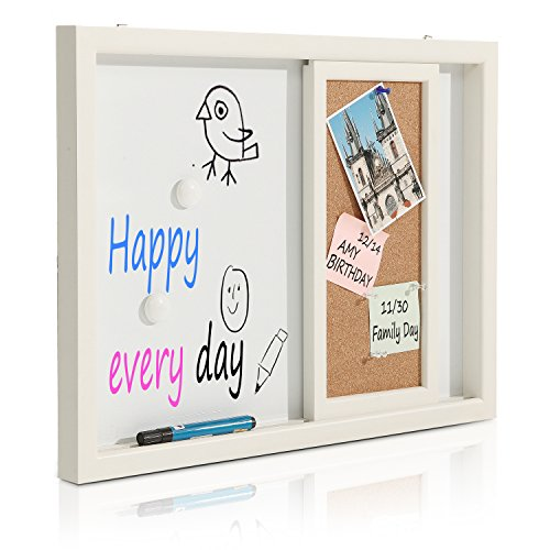 2-in-1-White-Wood-Framed-Wall-Mounted-Message-Center-w-Erasable-Magnetic-Whiteboard-Sliding-Cork-Board-0