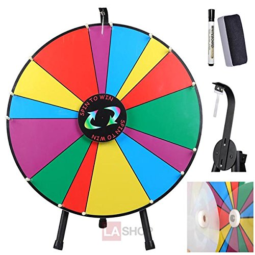 24-Inches-Round-Spinning-Tabletop-Board-Rainbow-Multi-Colors-Dry-Erase-Prize-Wheel-w-Tripod-Pen-Eraser-14-Unequal-Slots-for-Desk-Fun-Spin-Game-Carnival-Trade-Show-0-0