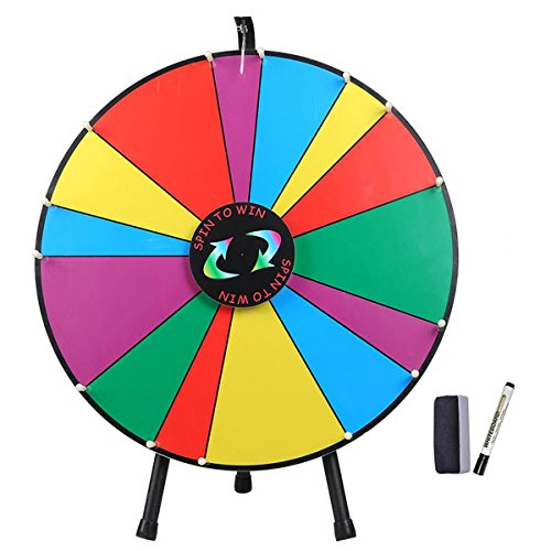 24-Inches-Round-Spinning-Tabletop-Board-Rainbow-Multi-Colors-Dry-Erase-Prize-Wheel-w-Tripod-Pen-Eraser-14-Unequal-Slots-for-Desk-Fun-Spin-Game-Carnival-Trade-Show-0