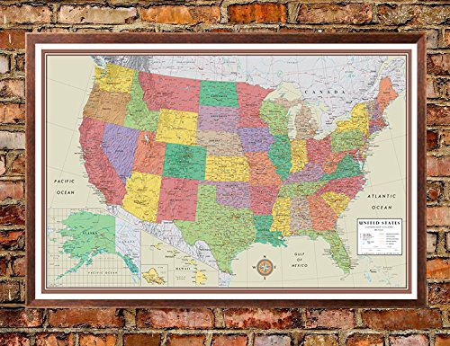 24×36-United-States-USA-US-Contemporary-Elite-Push-Pin-Travel-Wall-Map-Foam-Board-Mounted-or-Framed-0