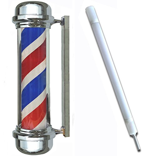 28-Flat-Top-Chrome-Barber-Pole-Lamp-Extra-Bulb-Spinning-Stripes-Light-Sign-Man-Cave-0