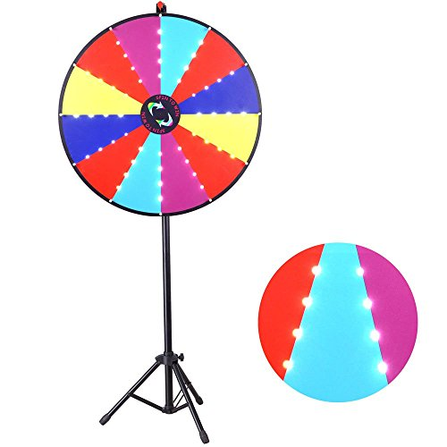 30-Inch-Round-12-Slots-Multi-Color-Spinning-Prize-Wheel-Dry-Erase-Board-White-48-Flashing-LED-Lights-Tripod-Floor-Stand-w-Pen-Eraser-Charger-for-Custom-DIY-Plate-Casino-Style-Game-Trade-Show-0