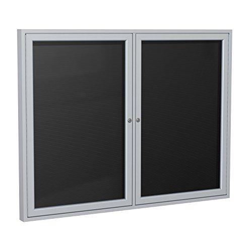 36×48-2-Door-Satin-Aluminum-Frame-Enclosed-Vinyl-Letter-Board-Black-0