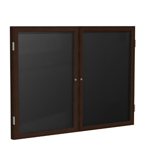 36×60-2-Door-Wood-Frame-Walnut-Finish-Enclosed-Flannel-Letter-Board-Black-0