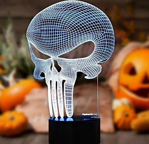 3D-Punisher-Skull-Lighting-by-Playtime-123-is-a-Great-Nightlight-with-a-Soft-Glow-for-Kids-These-Lights-Make-Beautiful-Gifts-and-Amazing-Desk-Lamps-for-Dad-Start-enjoying-your-own-3d-Light-Today-0