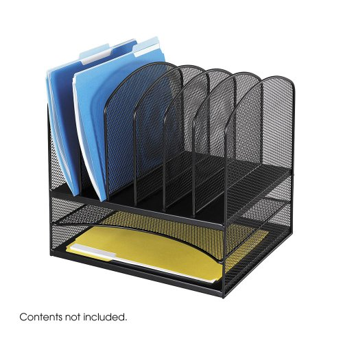 3X-Safco-Products-Onyx-Mesh-Desk-Organizer-2-Horizontal-and-6-Upright-Sections-Black-3255BL-0