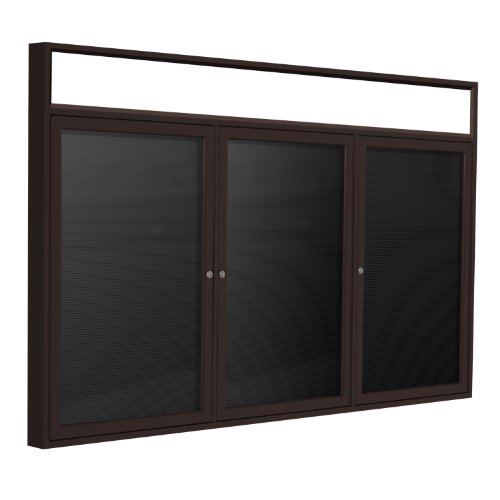 48×96-3-Door-Bronze-Alum-Frame-wIlluminated-Headliner-Enclosed-Vinyl-Letter-Board-Black-0