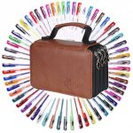 60-Assorted-Colors-Gel-Pen-Set-with-72-Slots-PU-Leather-Travel-Case-for-Sketching-Drawing-Painting-Writing-Custom-Artistic-Creations-Adult-Coloring-Books-0