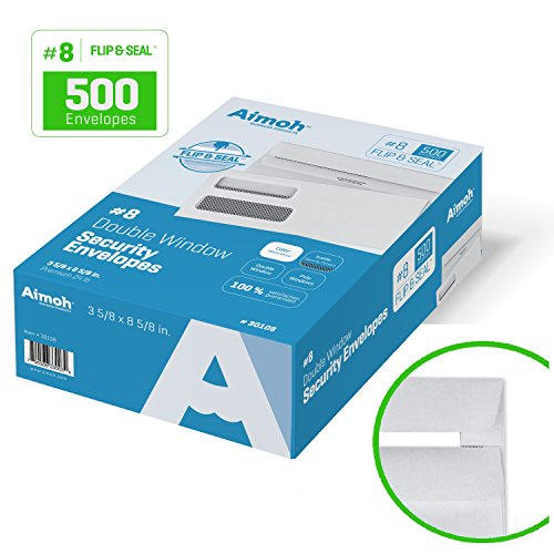8-FLIP-SEAL-Double-Window-Security-Business-Envelopes-for-Most-Standard-Checks-Self-Sealing-Adhesive-Seal-Security-Tinted-Size-3-58-x-8-58-White-24-LB-500-Count-30108-0