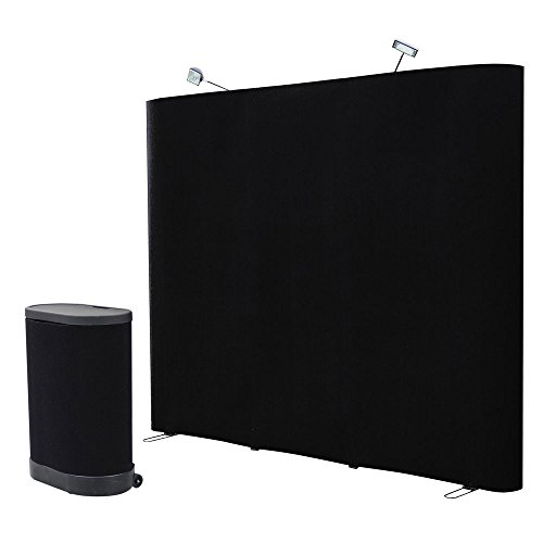 8-FT-Black-Straight-Pop-up-Display-Trade-Show-Booth-Spotlight-Podium-Case-Counter-Exhibition-Receptive-Fabric-0