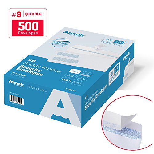 9-Double-Window-SELF-SEAL-Security-Business-Mailing-Envelopes-for-Invoices-Statements-Legal-Documents-QUICK-SEAL-Closure-Security-Tinted-Size-3-78-x-8-78-24-LB-500-Count-30139-0