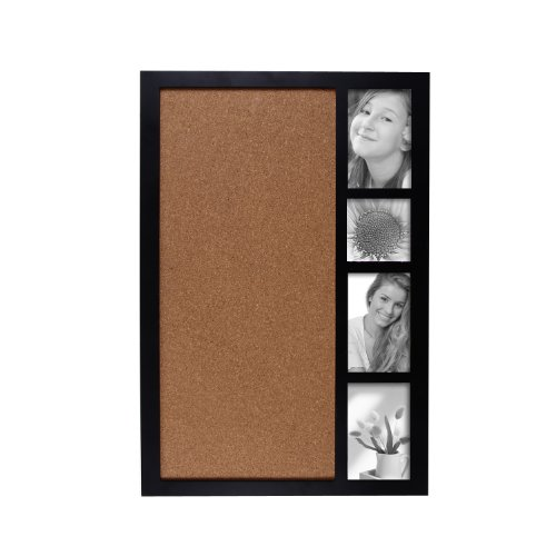 Adeco-PF0178-Decorative-Black-Wood-Wall-Hanging-Collage-Picture-Photo-Frame-with-Bulletin-Board-4-Openings-of-4×4-inches-and-4×6-inches-0-0