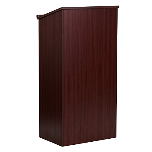 AdirOffice-Mahogany-Stand-up-Floor-standing-Podium-Lectern-with-Adjustable-Shelf-and-PenPencil-Tray-0-1