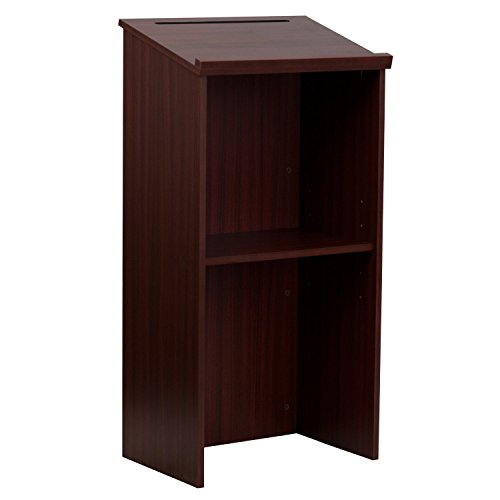 AdirOffice-Mahogany-Stand-up-Floor-standing-Podium-Lectern-with-Adjustable-Shelf-and-PenPencil-Tray-0