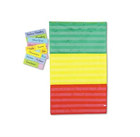 Adjustable-Tri-Section-Pocket-Chart-with-18-Color-Cards-Guide-36-x-60-Sold-as-1-Each-6PACK-Total-6-Each-0