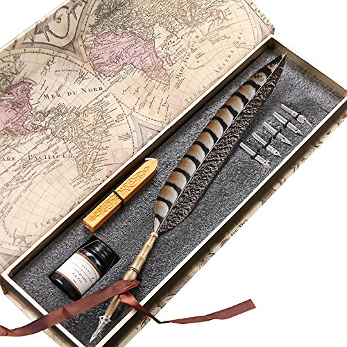 Antique-Feather-Copper-Pen-Stem-Metal-Nibbed-Pen-Writing-Quill-LL-14-0