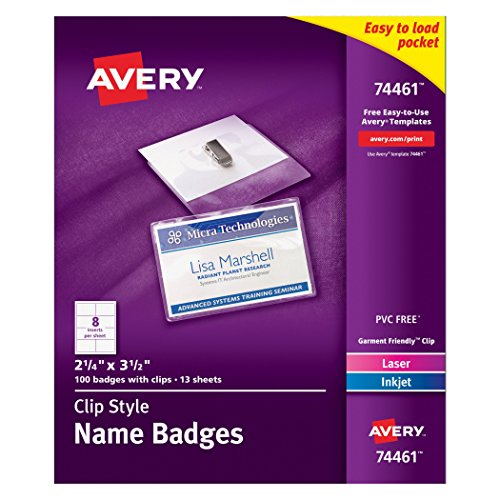 Avery-Garment-Friendly-Clip-Style-Top-Loading-Name-Badges-225-x-35-inches-White-Box-of-100-74461-0