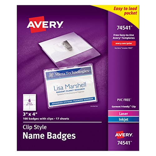 Avery-Top-Loading-Clip-Style-Name-Badges-Soft-Plastic-3-x-4-Inches-White-100-Holders-and-100-Ink-JetLaser-Inserts-74541-0