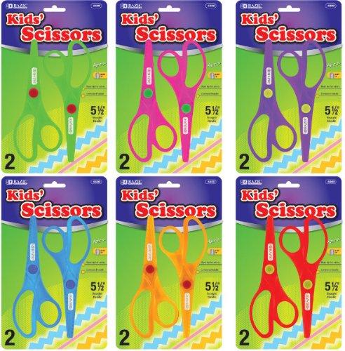 BAZIC-5-12-Fluorescent-Safety-Scissors-2Pack-144-pcs-sku-428630MA-0