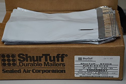 BOX-OF-500-Sealed-Air-Shurtuff-Quality-75-x-105-white-self-Seal-White-Poly-Mailers-with-perforated-lip-for-easy-opening-100-Recycled-0