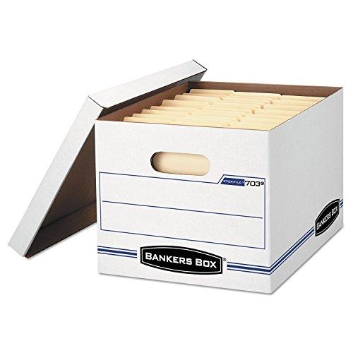 Bankers-Box-StorFile-Storage-Box-LetterLegal-Lift-Off-Lid-WhiteBlue-12Carton-Product-Category-File-Folders-Portable-Storage-Box-FilesRecord-Storage-Boxes-0