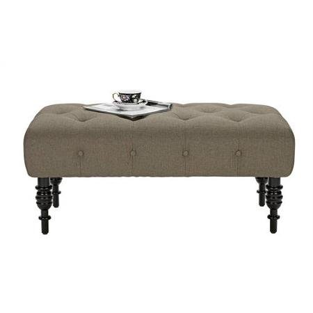 Better Homes And Gardens Traditional Tufted Bench Ottoman With Turned Wood Legs Oatmeal