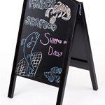 Black-A-Frame-Chalkboard-Sidewalk-Sign-with-Slide-out-18×26-Black-Boards-for-Easy-Updating-for-Wet-Erase-and-Traditional-Stick-Chalk-Wood-0-1