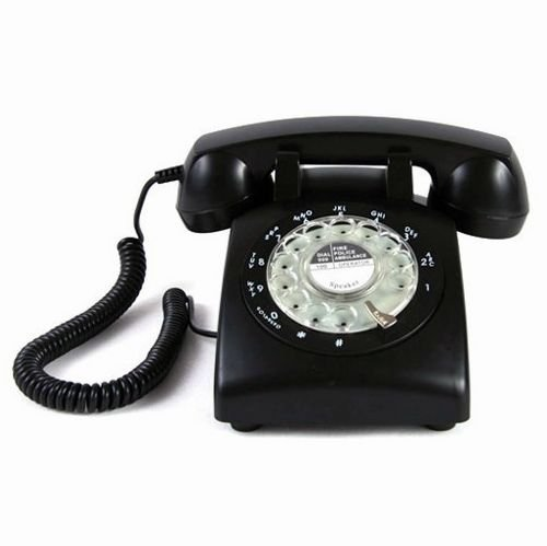 Black-Color-Vintage-1970s-STYLE-ROTARY-Retro-old-fashioned-Rotary-Dial-Home-Telephone-0