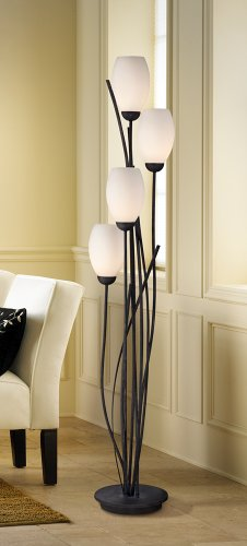 Black-Metal-and-White-Glass-Tulip-4-Light-Floor-Lamp-0-0