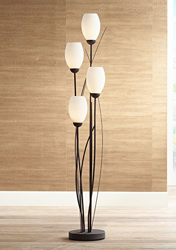 Black-Metal-and-White-Glass-Tulip-4-Light-Floor-Lamp-0-1