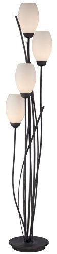 Black-Metal-and-White-Glass-Tulip-4-Light-Floor-Lamp-0