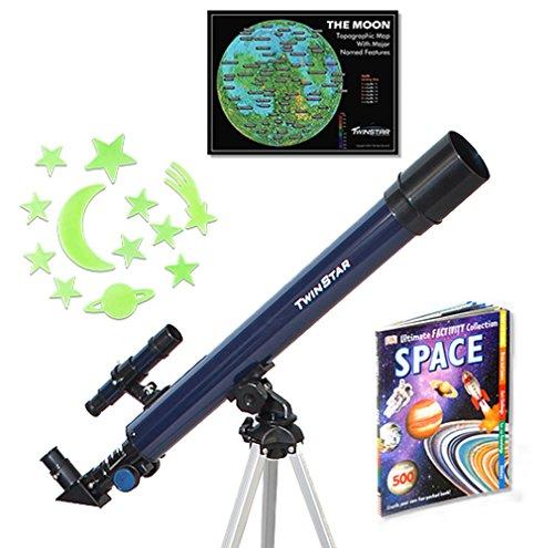 Blue-TwinStar-AstroMark-50mm-75x-Refractor-Telescope-Kids-Pak-Bundle-0