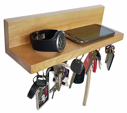 Brooklyn Basix Premium Magnetic Wood Key Ring Holder And Shelf For