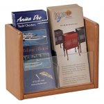Buddy-Products-Oak-and-Acrylic-1-Pocket-Literature-and-Brochure-Holder-4-x-75-x-975-Inches-Mahogany-Finish-0622-16-0