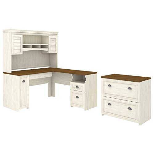 Bush-Furniture-Fairview-L-Shaped-Desk-with-Hutch-Lateral-File-Cabinet-in-Antique-White-0