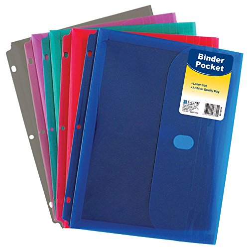 C-Line-Super-Heavyweight-Poly-Binder-Pocket-with-Hook-Loop-Closure-1-Inch-Gusset-Letter-Size-Pack-of-36-Assorted-Colors-58730-0