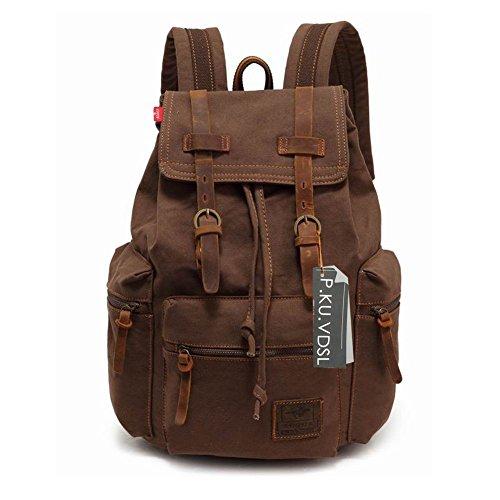 Canvas-Backpack-PKUVDSL-AUGUR-SERIES-Vintage-Canvas-Leather-Backpack-Hiking-Daypacks-Computers-Laptop-Backpacks-Unisex-Casual-Rucksack-Satchel-Bookbag-Mountaineering-Bag-for-Men-0