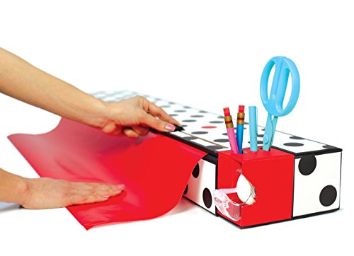 ChicWrap-30-Gift-Wrap-Dispenser-and-Storage-Box-with-Slide-Cutter-and-2-Rolls-of-GiftWrap-Dots-0-1
