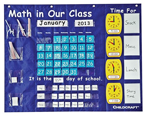 Childcraft-1435204-Math-in-Our-Class-Pocket-Chart-for-Grades-K-and-Up-42-x-33-Blue-0