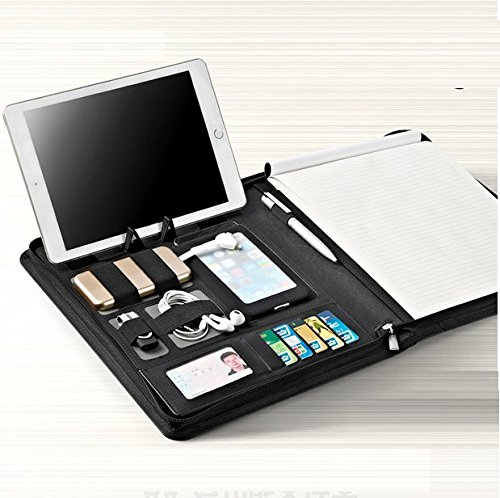 Chris-Wang-Creative-Black-PU-Leather-Zipper-Padfolio-Portfolio-w-Pen-Loop-Card-Slot-Clipboard-Cellphone-Pouch-Cable-Bands-Writing-Pads-Best-Tools-for-Interview-Job-Business-0-0