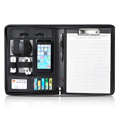 Chris-Wang-Creative-Black-PU-Leather-Zipper-Padfolio-Portfolio-w-Pen-Loop-Card-Slot-Clipboard-Cellphone-Pouch-Cable-Bands-Writing-Pads-Best-Tools-for-Interview-Job-Business-0